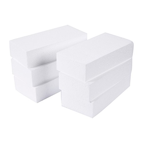 Craft Foam Block - 6-Pack Rectangle Polystyrene Foam Brick - Styrofoam Blocks for Sculpture, Modeling, DIY Arts and Crafts - White, 8 x 4 x 2 inches (Foam Board Extruded)
