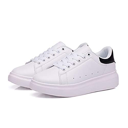 Autunno Sneakers Piatto White EU36 Bianco UK3 Per CN35 Nero Bianco Punta Donna 5 E Nero Poliuretano 5 Scarpe PU Verde US5 TTSHOES Tonda Comoda Xq08f