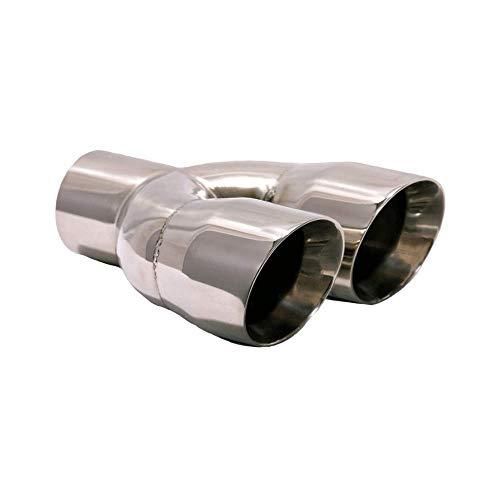 Exhaust Muffler Tip Dual Round Straight Cut Tips 10 1/2