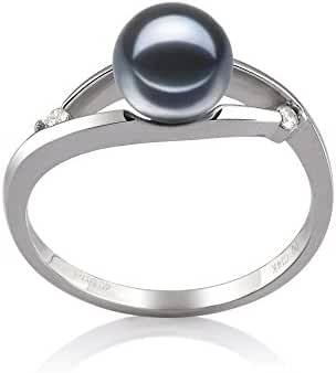 Black 6-7mm AAAA Quality Freshwater 14K White Gold Cultured Pearl Ring