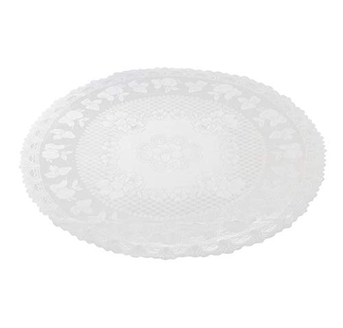Juvale Lace Table Cloth - 2-Pack 54 Inches Round Tablecloth, White Lace Table Cloth, for Home Decoration, Birthday Parties, Wedding Receptions, Baby Showers, Dining Room Table, Elegant Fruit Design