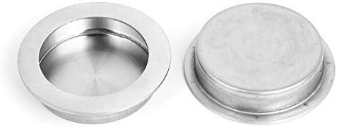 Corredera 70 mm cajón de la puerta redonda empotrada al ras y jalar la manija 2pcs
