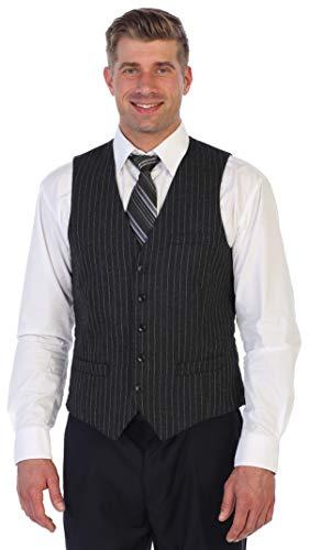 Gioberti Men's 5 Button Formal Wool Blend Tweed Pin Stripe Vest, Charcoal, 2X-Large