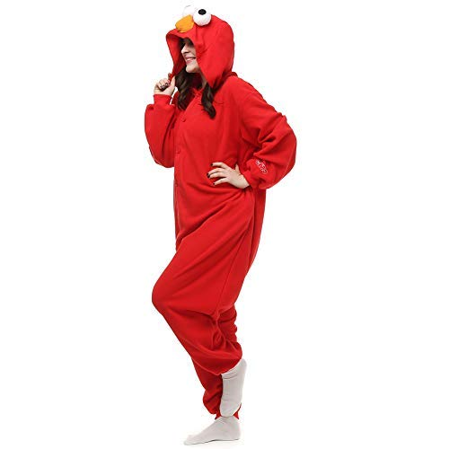 Amazing Cosplay Unisex Adult Red Elmo Onesie Animal Cosplay Costume Xmas Small -