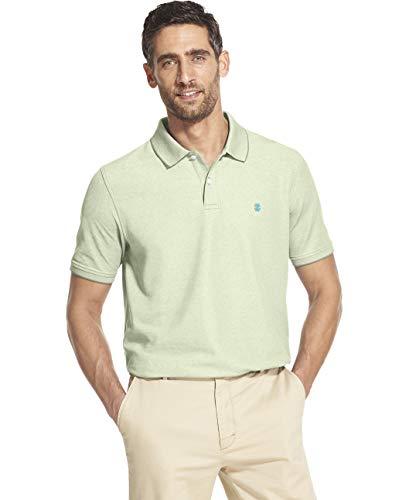 IZOD Men's Slim Fit Advantage Performance Short Sleeve Solid Polo, Patina Green, Medium