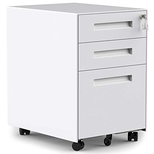 3 Drawers Mobile File Cabinet with Lock, Under Desk White File Cabinet with Wheels, Fully Assembled