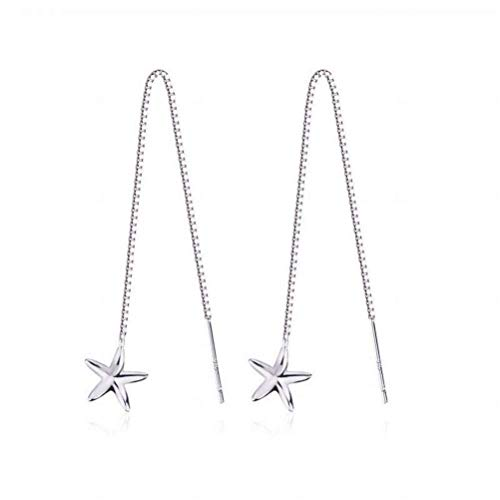 WOZUIMEI Earring Dangler Eardrop Stud Earring Starfish Sterling Silver S925 Ear Line Long Tassel Earrings Fashion Personality Silverware for Women, Starfish&Gold, 925 Silver