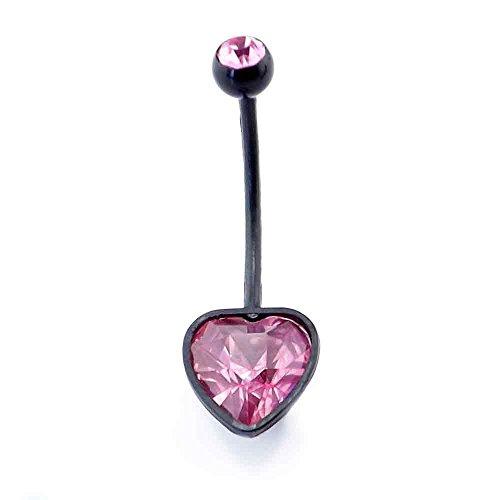 cristal rose bijou cardiaque extra-long noir souple barre de ventre de grossesse acrylique 14g (16mm)