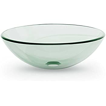 Miligoré Modern Glass Vessel Sink   Above Counter Bathroom Vanity Basin Bowl    Round Clear
