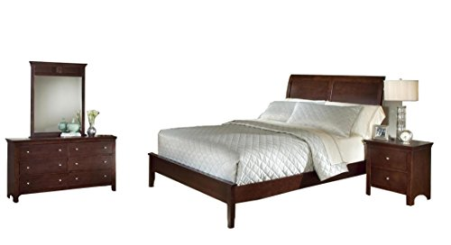 Roundhill Furniture Le Charmel 4-Piece Low Profile Bedroom Set, Includes Queen Bed, Dresser, Mirror and Night ()