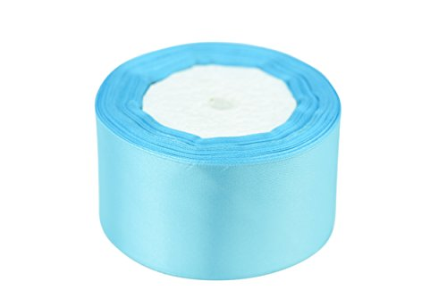 FiveSeasonStuff Single-Sided Satin Ribbon for Crafts, DIY, Scrapbooking, Gift, Wrap, Weddings, Party Favors, Decorative, Easter, Christmas, Floristry (Light Blue, 2 inch x 25 (2' Wide Satin)