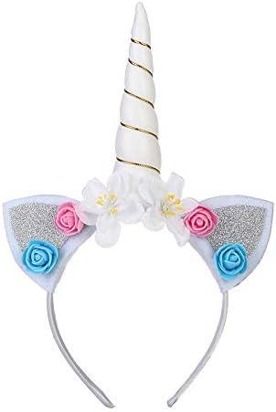 Costume da Ragazze Unicorno Abiti da Principessa Fiore senza maniche Ruffle Tutu Gonna di Tulle Vestito con Cerchietto Vestire per Cosplay Carnevale Festa compleanno Comunione Formale Abito da Ballo