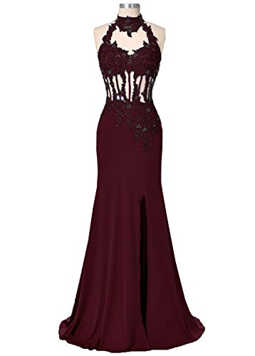 Neck Hole Dress Lace Mermaid Appliques Burgundy DYS Nude Tulle Women's High Prom Back SAXHHqRg