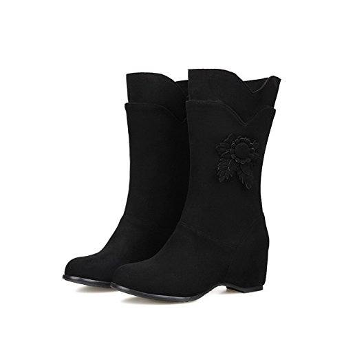 Pull Kitten Toe Boots Mid Frosted Allhqfashion Black Round top Women's Heels on Closed wOx0H