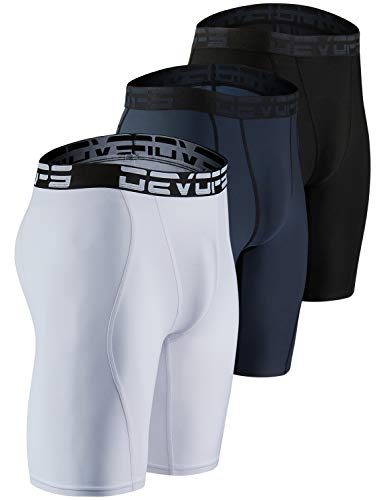 DEVOPS Men's 3 Pack Sports Performance Active Compression Cool Dry Baselayer Shorts (Large, Black/Charcoal/White)