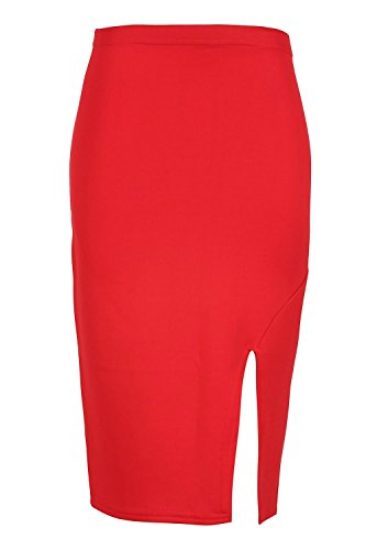 dcontract Taille 8C26 Smart fte t Wiggle femmes c Jupe adapt crayon plus fente Tube Rouge Split bodycon UK extensible Outlet Midi pour Oops n0ZUqxw188