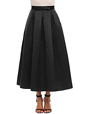 Zeagoo Women's High Waist A-line Party Wedding Flared Maxi Skater Skirt