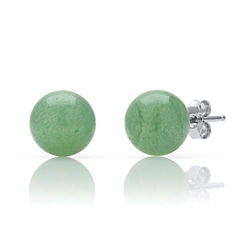 Asian Charm Earrings - Sterling Silver Natural Green Jade Round Stud Earrings (10mm)