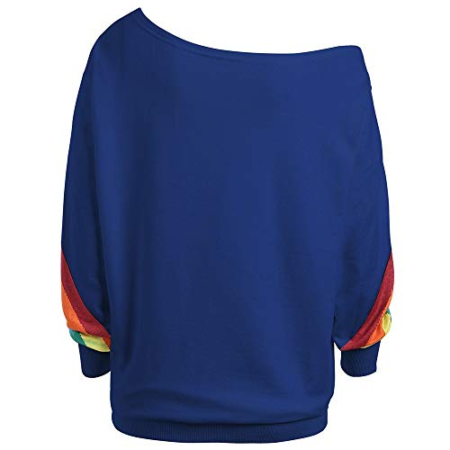Bleu Rainbow Manches Longues Grande Pull LULIKA Chemisier Femme Over Sweatshirt Loose Occasionnels Print Taille Sweat Shirt gzw0nFwqZ