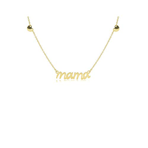 (Joy and Rachel IPG Gold Plated Plain High Polished Stainless Steel Mama with Heart Pendant Necklace)