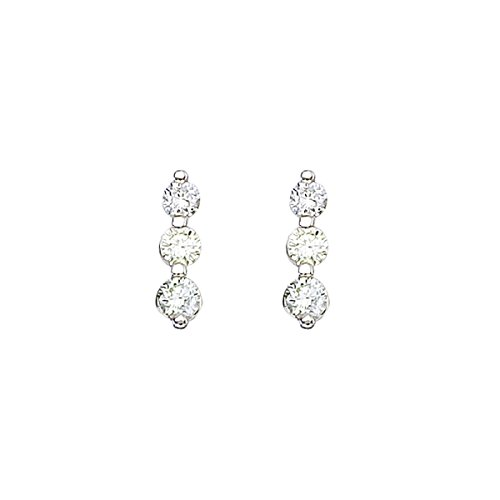 Drop 1/2 Carat Diamond Earrings (0.50 Carat (ctw) 14k White Gold Round Diamond 3-Stone Dangle Earrings with Post with Snap Down)
