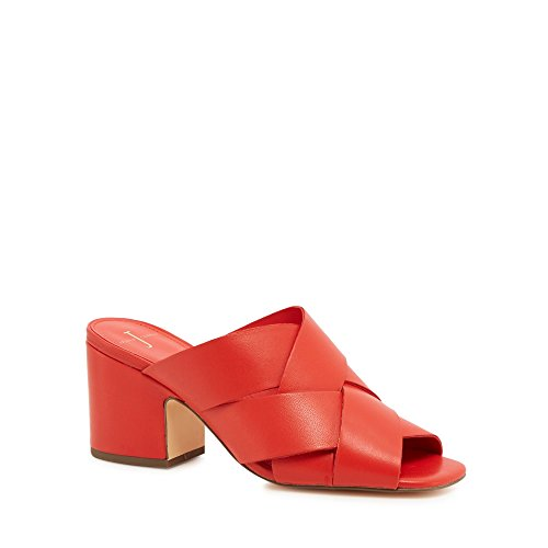 J by Jasper Conran Womens Coral Leather 'Jezzy' Mid Block Heel Mules l9p4aifp