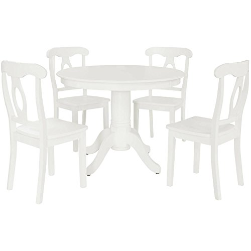 ABY 5-Piece Traditional Height Pedestal Dining Set, Multiple Colors, White, with a modern twist, Napoleon-style 4 chairs design, Round pedestal table, Dimensions LxWxH41.75x41.75x30.00