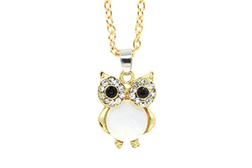 18k Gold Plated Crystal BIG Eyes Small Size Owl Long Chain Pendant Necklace ()