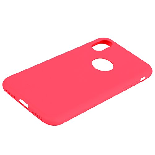 iPhone X Custodia , Leiai Moda Rosso Peso Leggero Soft Silicone Morbido TPU Cover Case Shell Custodia per Apple iPhone X
