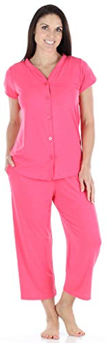 PajamaMania Women's Sleepwear Stretchy Knit Short Sleeve Button Up Top and Capri Pant Pajama Set (PMR1923-2019-MED) ()