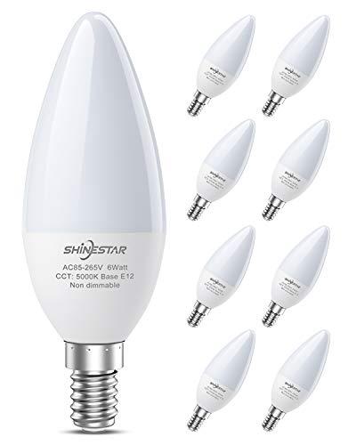 SHINESTAR 8-Pack Bright LED Ceiling Fan Light Bulbs, 60 Watt Equivalent, Daylight 5000K, E12 Candelabra Base, Chandelier…