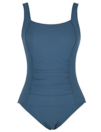 98f74b34b948e Firpearl Women's Retro Halter One Piece Bathing Suit Ruched Tummy Control  Swimsuit Aquamarine Blue US18 by