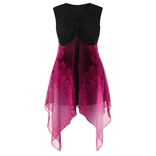 T-shirt Sleeveless Patch - Tantisy ♣↭♣ Chiffon Blouses for Women ✿ Ladies Sleeveless Printing Patchwork Strappy Irregular Hem Casual T-Shirt Top Hot Pink