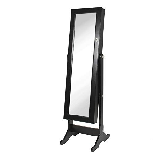 AK Energy Black Full Length Tilting Mirrored Jewelry Armoire Cabinet Hook Storage 43