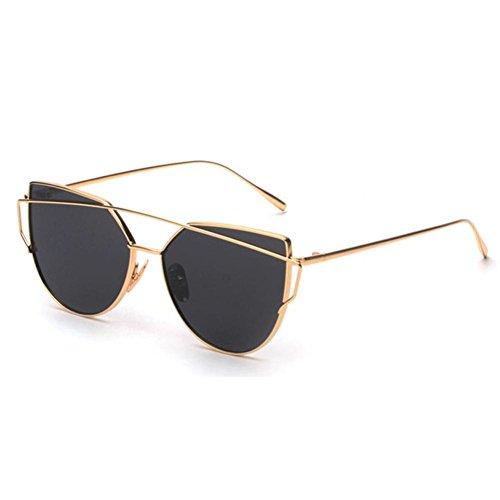 OverDose, Lunettes De Soleil CarréEs Unisex Yeux De Chat à Verres Effet Miroir Anti-UV Sport Glasses (J)