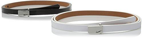 Nike Women's Sleek Modern Two-For-One Skinny Belts, White/Black, Large