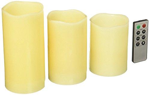 kole imports of863Juego de aroma de vainilla velas sin llama con Mando a distancia