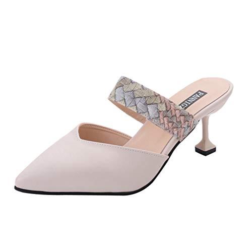- Sunhusing Ladies Pointed Stiletto Heel Slippers Sandals Baotou Strap Decor Sandals Wear Leisure Wild Shoes Beige