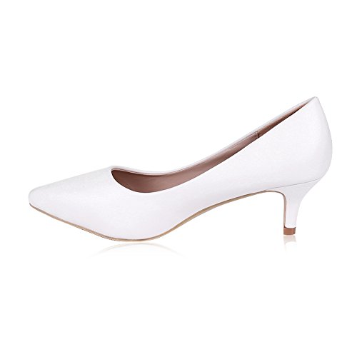 White Kitten Heels - buganda Women's Sexy Elegant Low Kitten Heel Shoes PU Leather Pointed Toe Classic Pumps 5cm