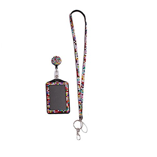 Jytrading Rhinestone Neck Bling Lanyard Badge Reel Phone Key Holder-Multicolor
