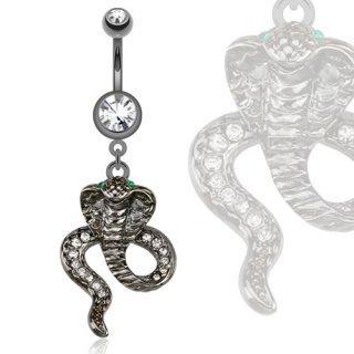 Piercing nombril avec cobra plaqué hématite serti strass blanc et yeux vert serpent