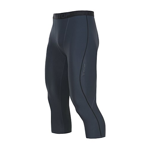 Team Logo Active Shorts (OUTOF Men's Sports & Outdoors Compression 3/4 Capri Shorts Baselayer Cool Dry Sports Tights Running Yoga Pants Medium Grey)
