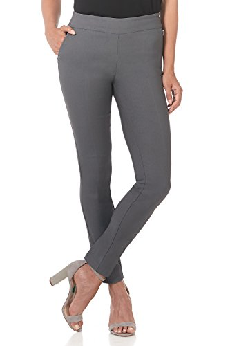 Slimming Twill Pants - Rekucci Women's Ease in to Comfort Modern Stretch Skinny Pant w/Tummy Control (4,Graphite)