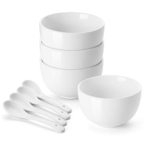 4 Porcelain Rice Soup Bowls - DOWAN Porcelain Bowls, 30 Oz Porcelain Bowl for Cereal, Soup, Ramen, Rice Bowls, Bowl Set of 4, with 4 Spoons, White