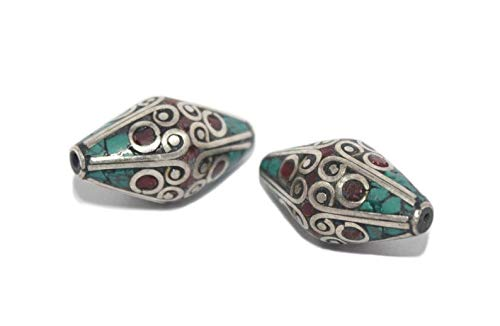 - Design Ideas - Turquoise Beads Coral Beads 2 Beads Silver Beads Tibetan Beads Nepal Beads Tibet Beads Tribal Beads Boho Beads Ethnic Beads BDA34 - Unique Selection Beads