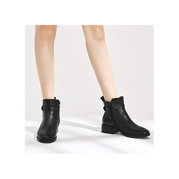 Gaslinyuan Donna Casual Stivali Buckle Block Zipper Leather Comfort Shoes colore Nero Dimensione Eu 39