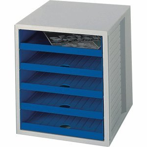 Han Schubladenbox Schrankset 5 offene Schübe grau blau B0074AUHDY | Gute Qualität
