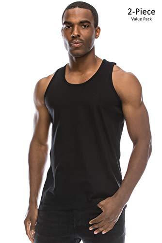 JC DISTRO Value Pack Mens Hipster Hip Hop Basic Workout Solid Black Tank Top Large
