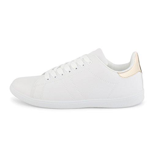 best-boots Damen Herren Low-Top Sneaker Flats Turnschuhe Retro Weiß Gold 1317 Größe 39