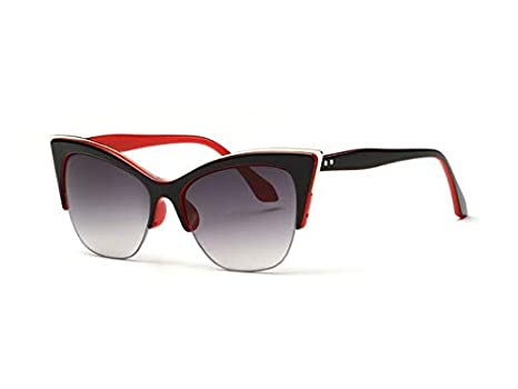 Amazon.com: Kasuki Newest Half-Frame Cat Eye Sunglasses ...